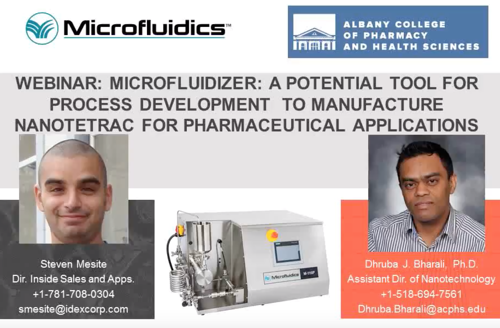 Watch our webinar on Microfluidizer: A Tool for Process Development to Manufacture Nanotetrac